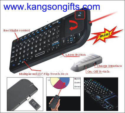 2.4G wireless laser keyboard with touch pad
